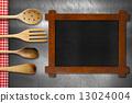 Wooden Blackboard and Kitchen Utensils 13024004