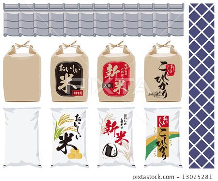 米 大米包裝袋 矢量 13025281