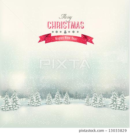 Stock Illustration: Vintage Christmas winter landscape background. Vector.