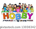 Diverse Cheerful Children Holding the Word Hobby 13036342