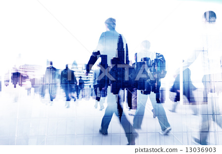 Stock Photo: Business People Walking on a City Scape