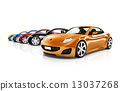 Multi Colored Three Dimensional Modern Cars 13037268