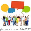 Multiethnic Cheerful People Celebrating with Speech Bubbles 13040727