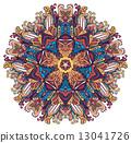 花香 裝飾性的 圓的 13041726