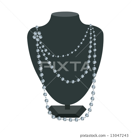 Diamond necklace on a black mannequin 13047243