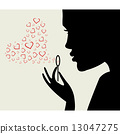 Beautiful woman silhouette with heart  13047275