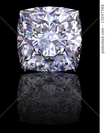 Square diamond on glossy black background 13047388
