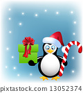 Penguin with Christmas candy and gift box 13052374