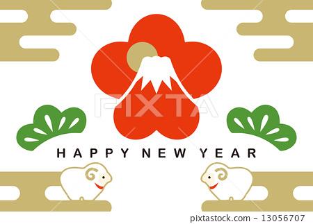 New Year card 2015 Mt. Fuji (pine) HAPPY NEW YEAR 13056707
