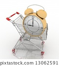 shopping cart with clock in white background 13062591