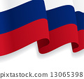 Background with waving Russian Flag. Vector 13065398