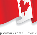 Background with waving Canadian Flag. Vector 13065412