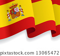 Background with waving Spanish Flag. Vector 13065472
