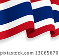 Background with waving Thai Flag. Vector 13065670