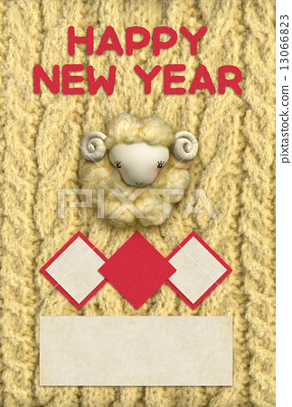 knitting sheep new years card 13066823