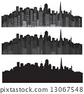 Vector cities silhouettes. 13067548