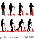 Set of silhouettes of children riding on scooters. Vector illust 13068109