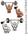 dumbbell, vector, bodybuilder 13078083