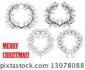 round, holly, wreath 13078088