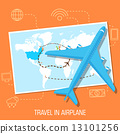flat travel with airplane illustration design concept background 13101256
