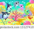 Funny marine animals under the sea 13127410