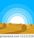 Field with bales of hay 13131326