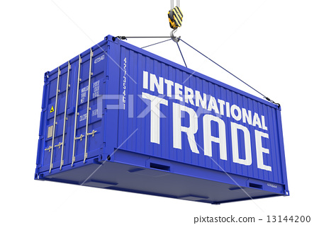 International Trade - Blue Hanging Cargo Container. 13144200