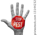 Stop Pest on Open Hand. 13144232