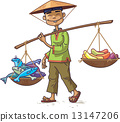 Asian Merchant with Fresh Fish and Fruits 13147206