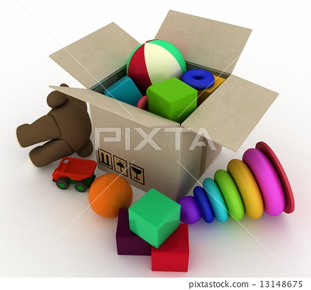 child's toys are in a box. 3d render illustration. 13148675
