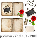 old book, photo frameds and red rose flower. scrapbook elements 13151909