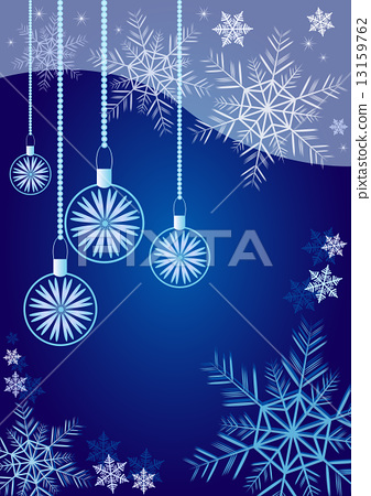 Winter background with different snowflakes and balls 2015 13159762