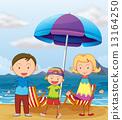 drawing, beach, illustration 13164250