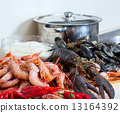 Raw sea foods in  kitchen 13164392