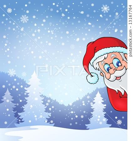 Theme with lurking Santa Claus 13167764
