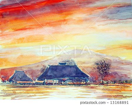 屋頂的私人住宅的水彩與茅草屋頂的日落天空的草圖 13168891