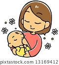 가슴을 마시면 아기 (흰색 배경) 13169412