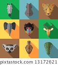 Animal Portrait Set with Flat Design 13172621