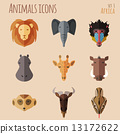 African Animal Portrait Set with Flat Design 13172622