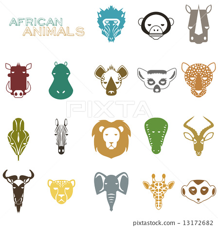 African Animals color icons 13172682