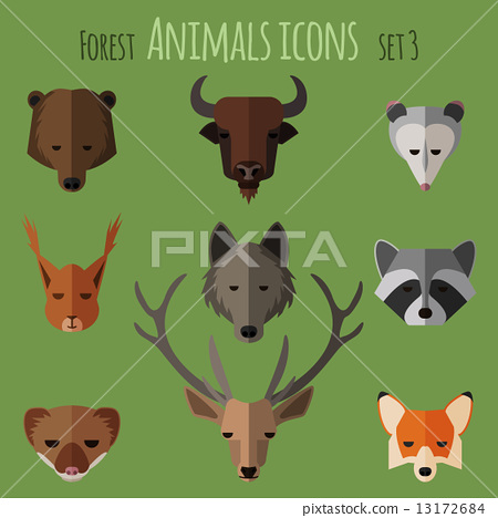 Forest animals flat icons. Set 1 13172684