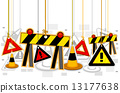 Construction Signs On Strings 13177638