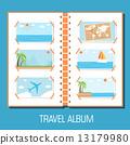 flat travel photo album illustration design concept background. 13179980