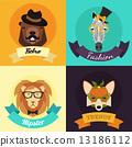 animal, set, hipster 13186112