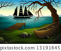 A black ship at the sea across the boat under the tree 13191645