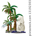 The statue of Merlion near the palm trees 13192303