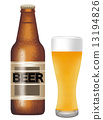 啤酒瓶和啤酒杯 13194826