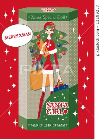 크리스마스 카드 산타 소녀 13199237