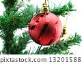 Christmas background with a red ornament 13201588