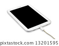 Charging Tablet pc isolated on white background 13201595